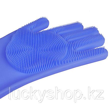 Силиконовые перчатки для мытья посуды, цвет голубой, фото 2