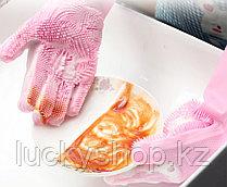 Силиконовые перчатки для мытья посуды, цвет голубой, фото 3