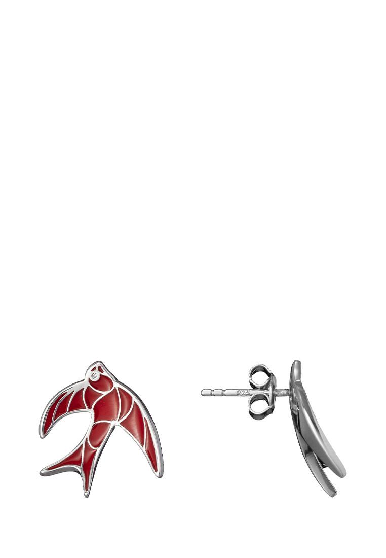 Серебряные Серьги Ласточка Brosh Jewellery  (Серебро 925) (красный)