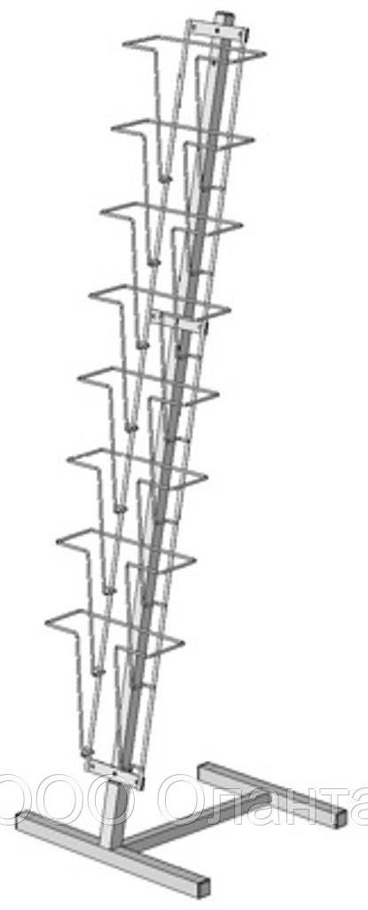 Стойка напольная с наклонной полосой для прайс-листов на 8 карманов формат А4 (цвет) арт. СБС2-8