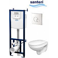 Santeri Альфа комфорт ПЭК подвесной унитаз + инсталляция + сиденье полипропилен + панель хром
