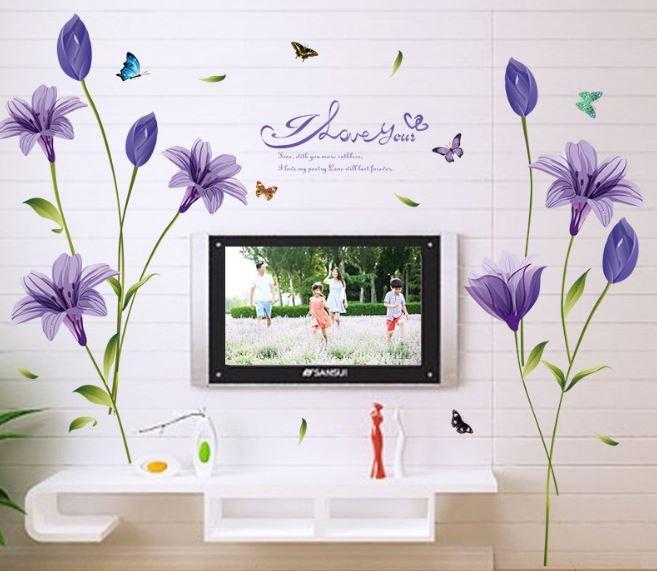 """Наклейка настенная, """"Фиолетовые цветы"""""""