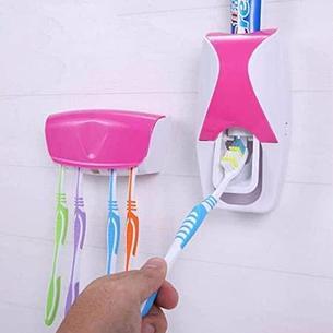 Дозатор для зубной пасты с держателем для щеток, цвет розовый + белый, фото 2