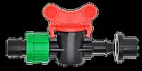 Кран шаровый d 17х8 мм для капельной ленты
