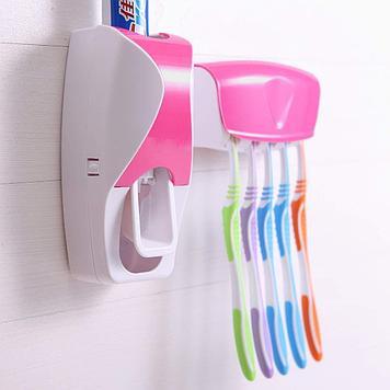Дозатор для зубной пасты с держателем для щеток, цвет розовый + белый