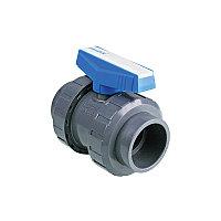 Кран шаровый PVC-U 63 PN16 регулирумый для кислоты Pimtas