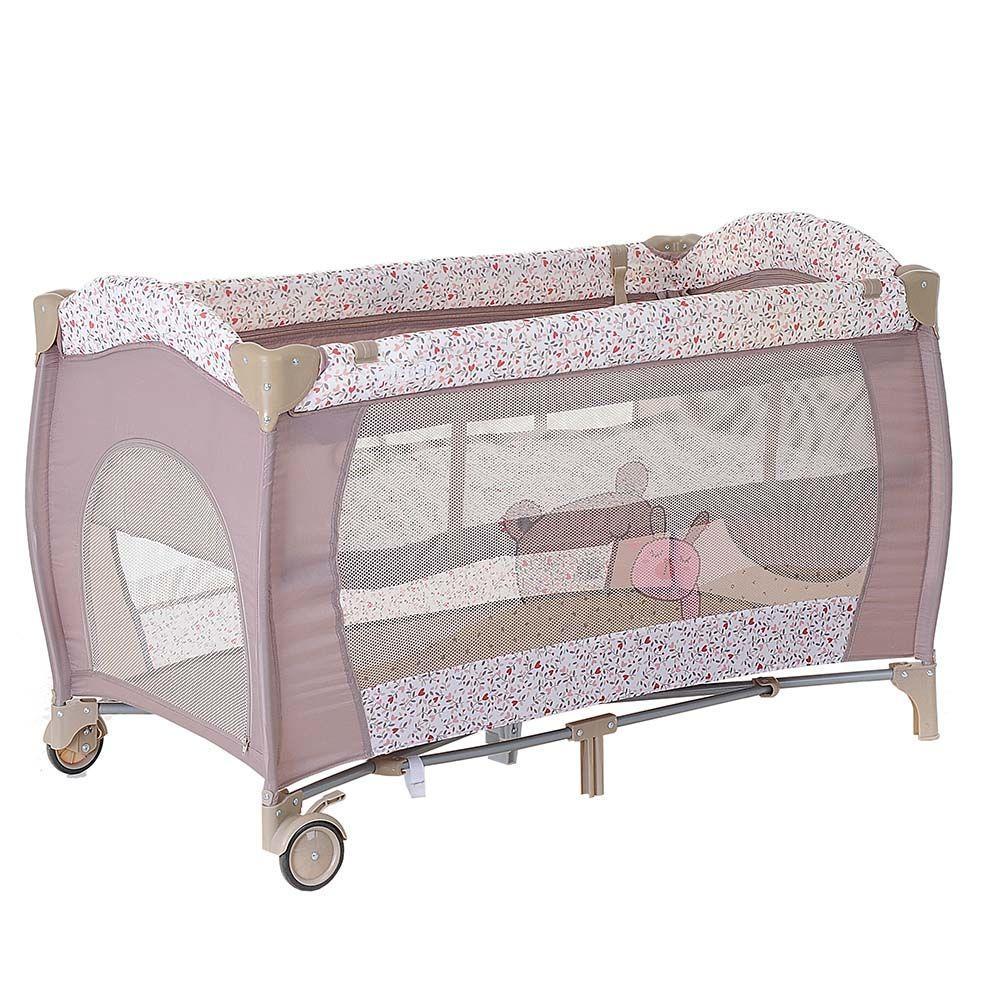 PITUSO Манеж-кровать GRANADA ДРУЖБА 2-уровневый на молнии лаз пласт кольца 4шт, 2 колеса 120*60*