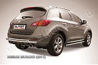 Защита заднего бампера d57+d42 двойная Nissan Murano 2010-15