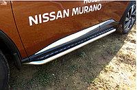 Защита порогов d57 с листом усиленная Nissan Murano 2016-