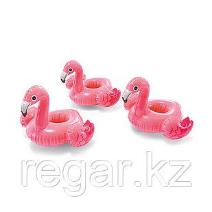 Надувной плавающий держатель для напитков Intex 57500NP в форме фламинго (в упаковке 3 штуки)