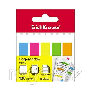 Закладки пластиковые с клеевым краем ErichKrause® Neon, 12х44 мм, 100 листов, 5 цветов