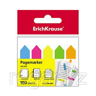 Закладки пластиковые с клеевым краем ErichKrause® Neon Arrows, 12х44 мм, 100 листов, 5 цветов