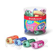 Пластиковая точилка ErichKrause® Joy®, цвет корпуса ассорти (в тубусе по 48 шт.)