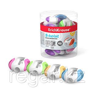 Пластиковая точилка ErichKrause® S-Twist, цвет корпуса ассорти (в тубусе по 24 шт.)