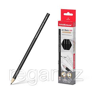 Чернографитный шестигранный карандаш  ErichKrause® Jet Black 100 HB (в коробке по 12 шт.)