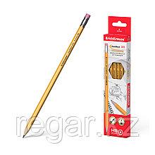 Чернографитный шестигранный карандаш с ластиком ErichKrause® Amber 101 HB (в коробке по 12 шт.)