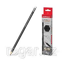 Чернографитный шестигранный карандаш с ластиком ErichKrause® Jet Black 101HB (в коробке по 12 шт.)