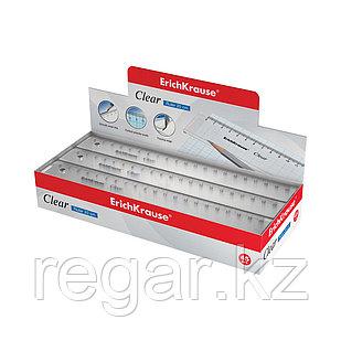 Линейка пластиковая  ErichKrause® Clear, 20 см, прозрачная (в коробке-дисплее по 45 шт.)