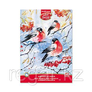 Альбом для рисования с бумагой для акварели на клею ArtBerry® Снегири А4, 10 листов