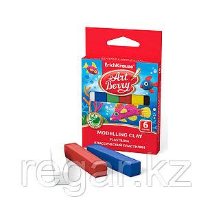 Коробка классических пластилинов ArtBerry® с Алоэ Вера, 6 цветов, 90г., ассорти
