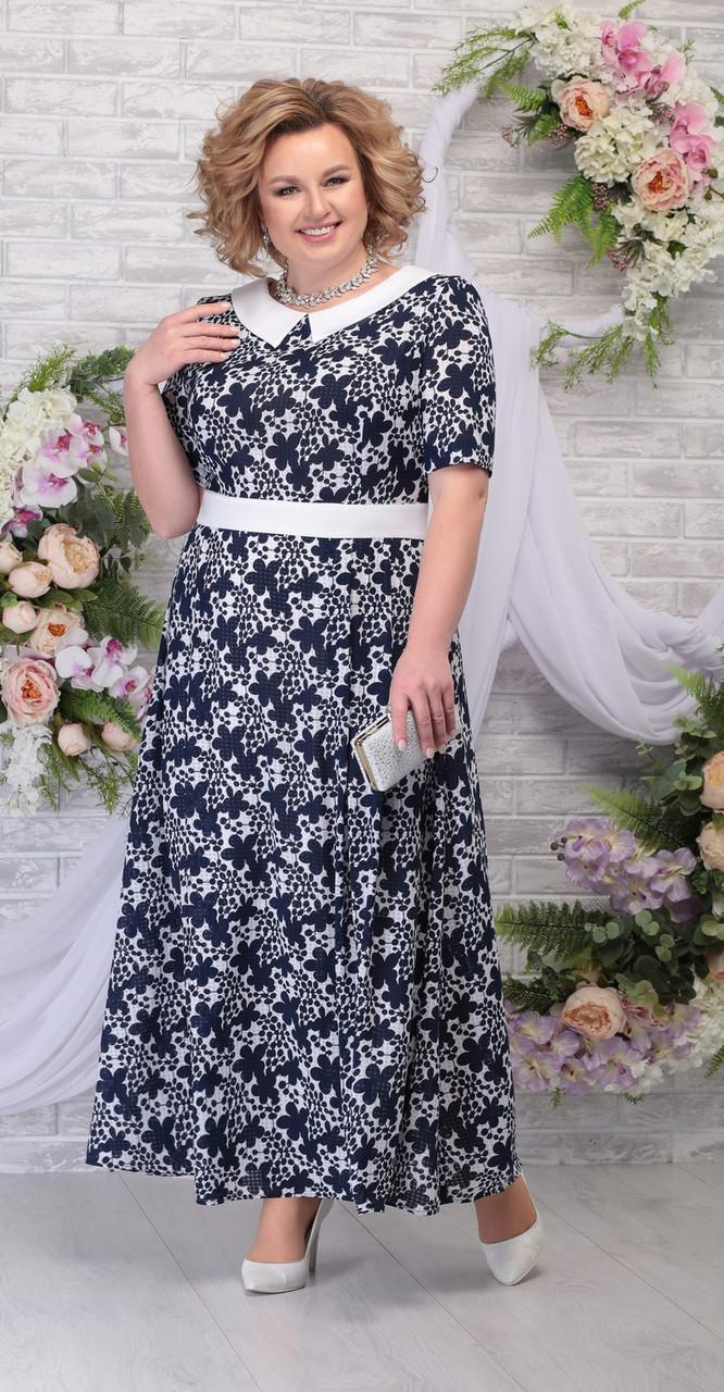 Платье Ninele-295/1, синие цветы, 52