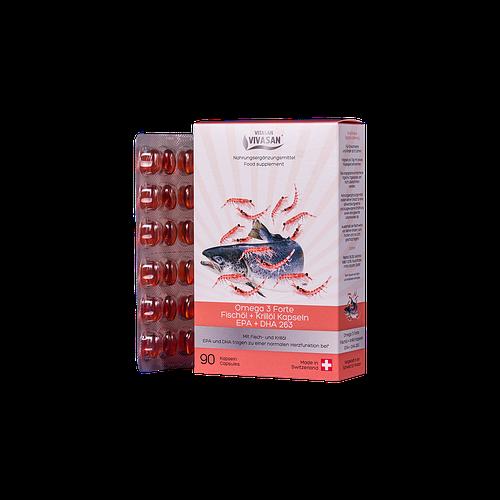 Омега 3 форте рыбий жир и масло криля EPA + DHA263