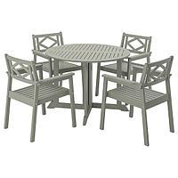Стол+4 кресла,БОНДХОЛЬМЕН, д/сада, серый морилка ИКЕА, IKEA
