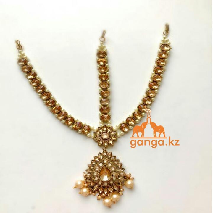 Тика - индийское украшение на голову, Золотистая