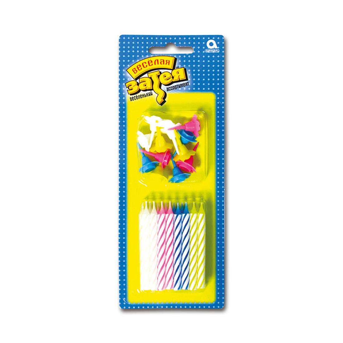 Свечи с подставкой ВЕСЁЛАЯ ЗАТЕЯ 1502-0181 (24 штуки в блистере)