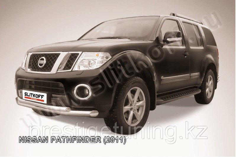 Защита переднего бампера d76+d57 двойная Nissan Pathfinder 2010-13
