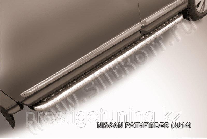 Защита порогов d57 с листом усиленная Nissan Pathfinder 2014-