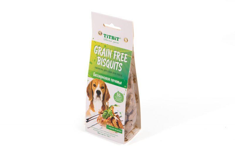 Беззерновое печенье TitBit Grain Free Bisquits с мясом ягненка - 100 г
