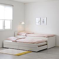 СЛЭКТ Каркас кровати с выдвижной кроватью, белый, 90x200 см, фото 1
