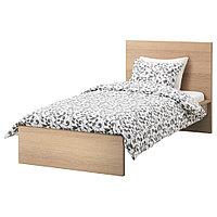 МАЛЬМ Каркас кровати, дубовый шпон, беленый, 90x200 см