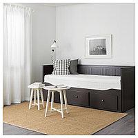 ХЕМНЭС Каркас кровати-кушетки с 3 ящиками, черно-коричневый, 80x200 см