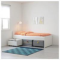 СЛЭКТ Каркас кровати с секцией дивана, белый, серый, 90x200 см, фото 1