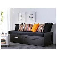 БРИМНЭС Каркас кровати-кушетки с 2 ящиками, черный, 80x200 см, фото 1