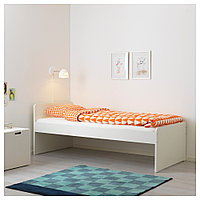 СЛЭКТ Каркас кровати с реечным дном, белый, 90x200 см