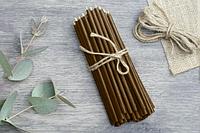 Свечи из воска коричневые  от 24 тенге за 1 шт Длина свечи 165мм, фото 1