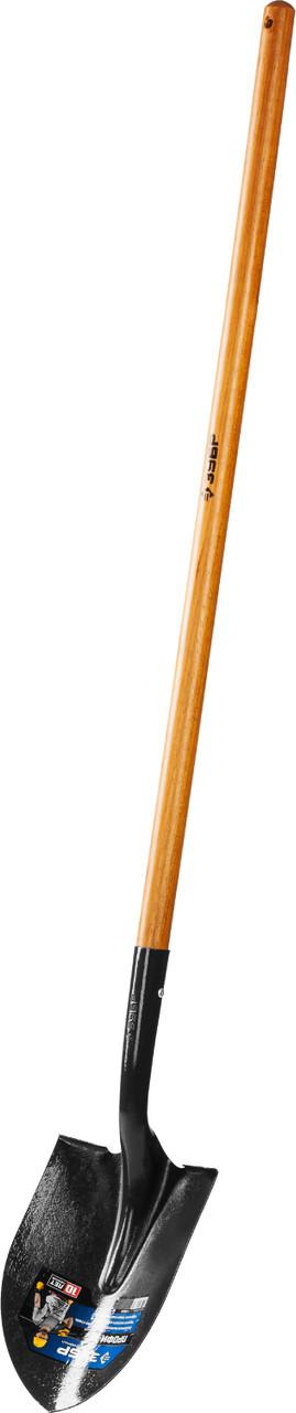 Лопата штыковая ЗУБР для земляных работ, деревянный черенок, 290 x 210 x 1500 мм