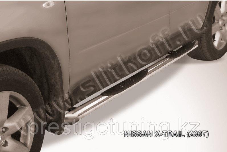 Защита порогов d76 с проступями со скосами Nissan X-TRAIL 2007-11