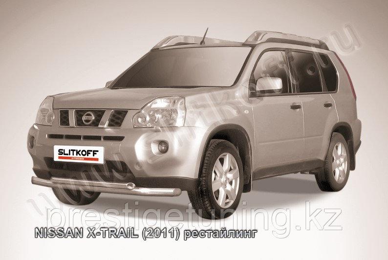 Защита переднего бампера d76+d57 двойная Nissan X-TRAIL 2011-13