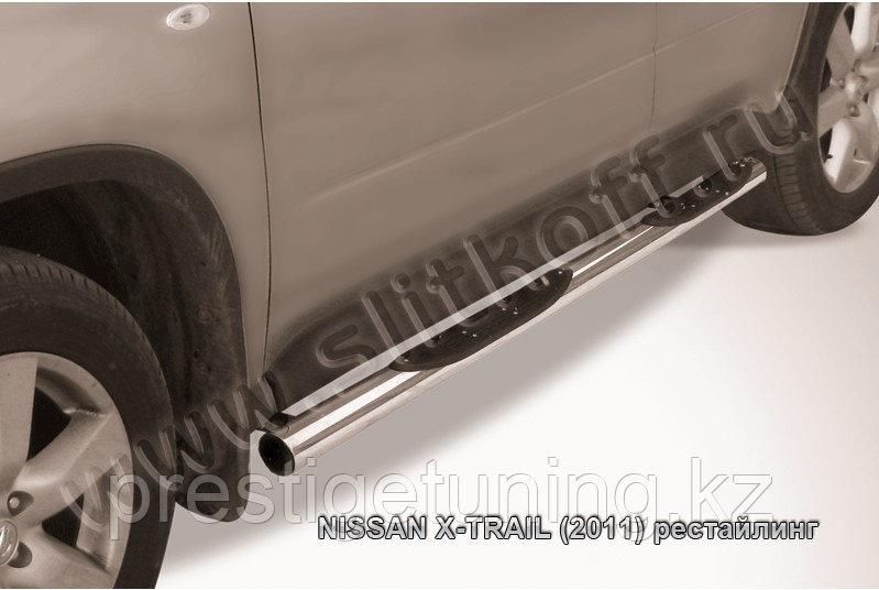 Защита порогов d76 с проступями Nissan X-TRAIL 2011-13