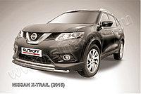 Защита переднего бампера d57+d42 двойная короткая Nissan X-TRAIL 2014-18
