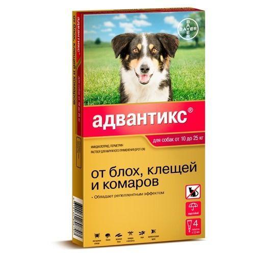 Капли на холку от блох и клещей Адвантикс 250 для собак 10-25 кг, Bayer - 4 пип.