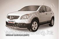 Защита переднего бампера d57+d42 двойная длинная Nissan QASHQAI 2007-11