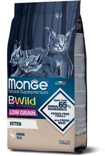 Низкозерновой корм Monge BWild LG Kitten Goose для котят (Гусь) - 1.5 кг