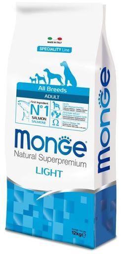 Низкокаллорийный корм Monge Adult Light для взрослых собак (Лосось и рис) - 15 кг
