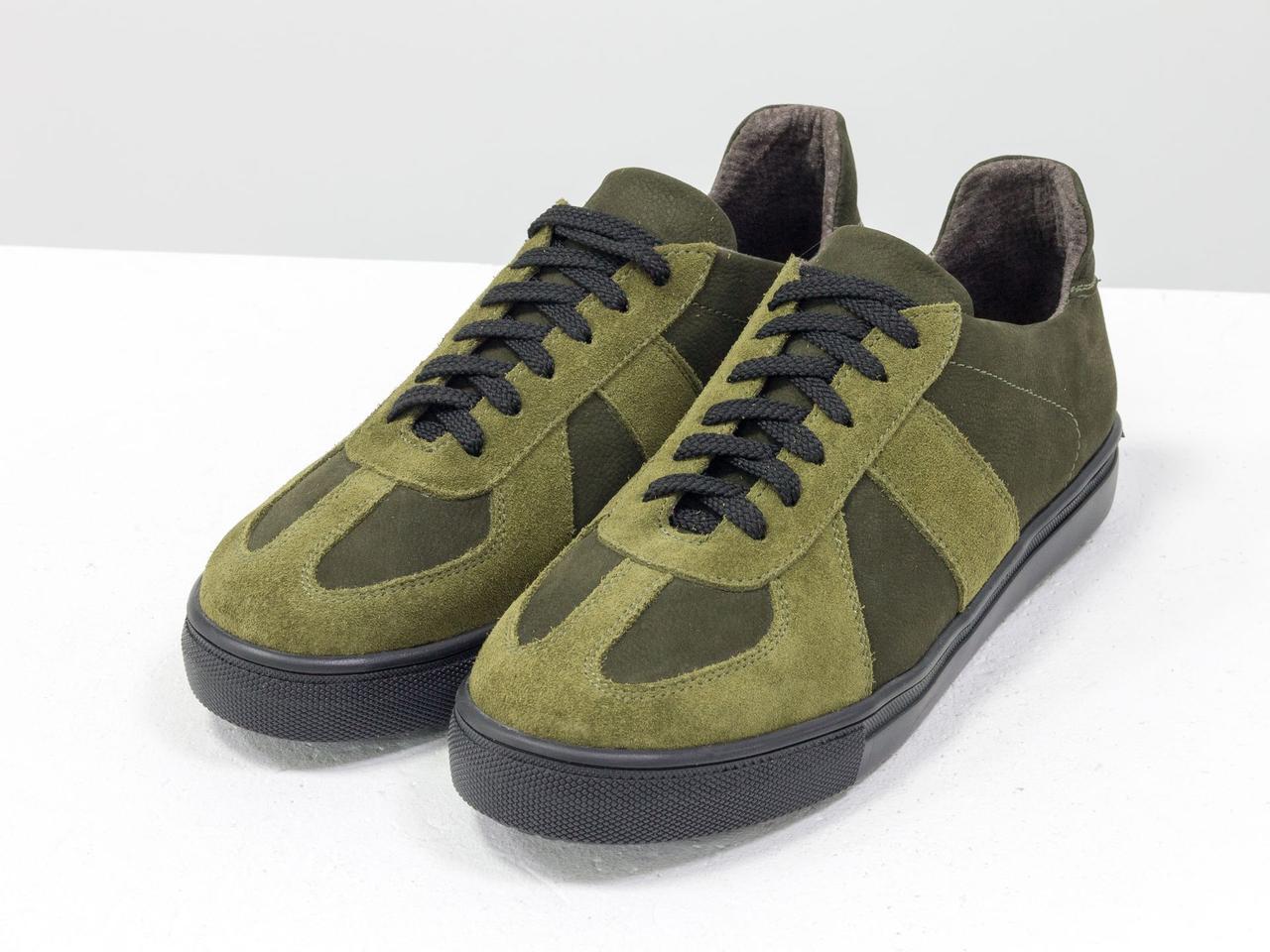 Стильные кроссовки из натуральной замши и матовой кожи оливкового и болотного цвета - фото 1