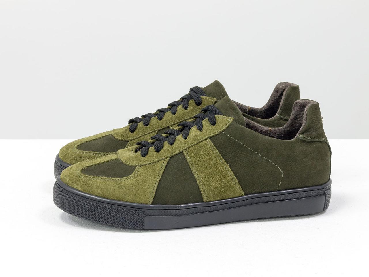 Стильные кроссовки из натуральной замши и матовой кожи оливкового и болотного цвета - фото 3